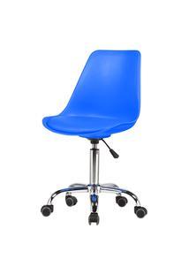 Cadeira Chicago Couro Azul Base Cromada Rodizio 102Cm - 62571 Azul