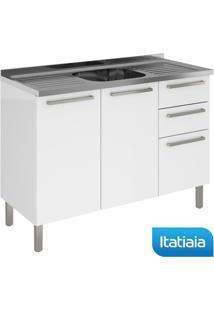 Módulo Cozinha Gabinete Com Inox Dandara 2 Portas E 3 Gavetas Ig3G2-120Pia - Branco - Aço - Itatiaia