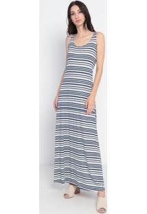 Vestido Longo Listrado- Azul & Branco- Maria Padilhamaria Padilha