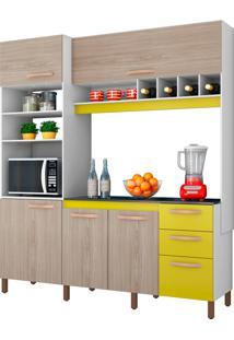 Cozinha Compacta Cacau Branco E Bege E Amarelo Móveis Albatroz