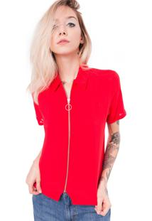 Camisa Saloon 33 De Viscose Vermelha
