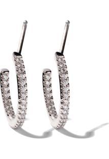 De Beers Par De Brincos De Argola 'Micropavé' De Ouro Branco 18K Com Diamantes - White Gold