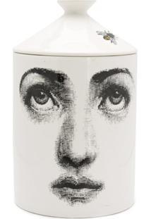 Fornasetti Vela Perfurmada De Cerâmica Com Estampa - Branco