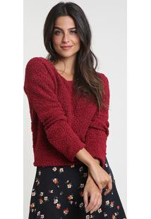 Suéter Feminino Em Tricô Texturizado Decote Redondo Vermelho