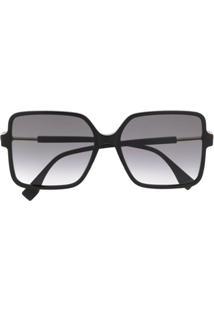 Fendi Eyewear Óculos De Sol Oversized Quadrado Com Lentes Coloridas - Preto