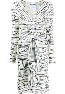 Moschino Vestido Envelope Com Paetês - Branco