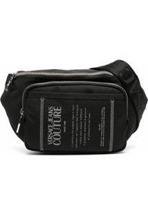 Versace Jeans Couture Pochete Com Zíper E Estampa De Logo - Preto