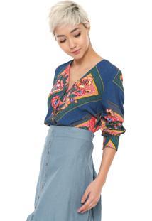 Camisa Malwee Floral Azul-Marinho