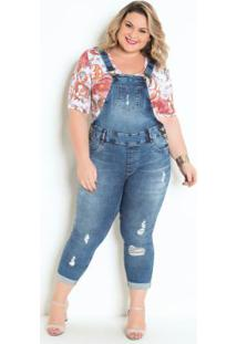 Jardineira Plus Size Jeans Cropped