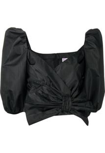 Redvalentino Pussy-Bow Cropped Blouse - Preto