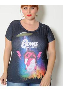Camiseta Vintage And Cats Plus Size Bowie - Feminino