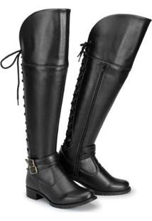 Bota Over The Knee Cano Alto Feminina - Feminino-Preto