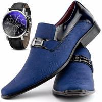 61c9b78649 Kit Sapato Social Verniz Com Relógio Gofer 0556L Azul Preto