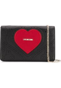 Love Moschino Bolsa Com Logo De Coração Gravado - Preto