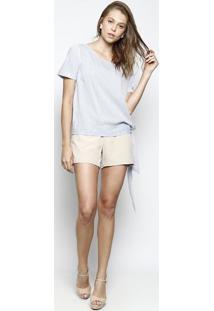 Blusa Listrada Com Amarraã§Ã£O- Branca & Azul- Dbz Jeadbz Jeans