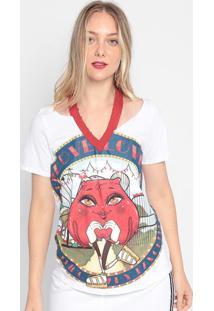 Camiseta Coração Com Recorte - Branca & Vermelha- Mymy Favorite Things