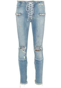 Unravel Project Skinny Stonewash Ripped Skinny Jeans - Azul
