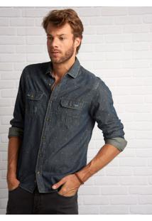 Camisa John John Clint Azul Masculina Camisa Clint-Jeans Escuro-G