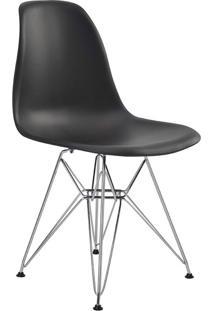Cadeira Sem Braço Pp Base Cromada Eiffel -Rivatti - Preto