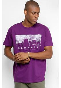Camiseta Manga Curta Triton Estampada Masculina - Masculino-Roxo