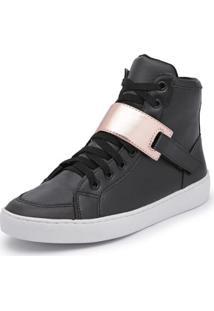 Tênis Cano Alto Top Franca Shoes Feminino - Feminino-Preto+Dourado