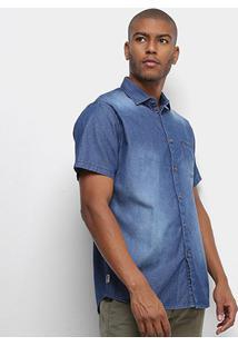 Camisa Jeans Forum Slim Fit Masculina - Masculino-Azul