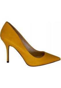 Scarpin Salto Alto Bico Fino Marjorie Feminino - Feminino-Amarelo