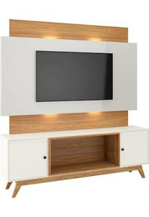 Rack Com Painel Munique Com Led 1,80 Mt Cor Off White Com Freijo - 51627 Sun House