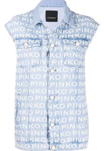 Pinko Logo-Print Denim Gilet - Azul