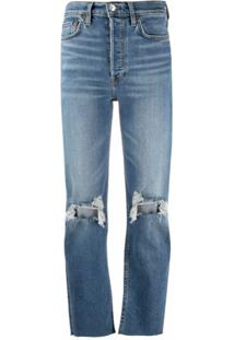 Re/Done Distressed Cropped Jeans - Azul
