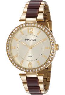 7cadb251870 E Clock. Relógio Analógico Feminino Dourado Seculus 77016lpsvds1