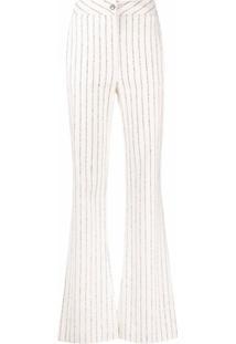 Manuel Ritz Pinstripe Bootcut Trousers - Branco