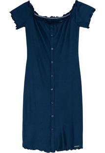 Vestido Azul Marinho Ciganinha Canelado
