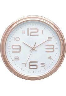 Relógio Parede Plástico Good Times Branco E Cobre