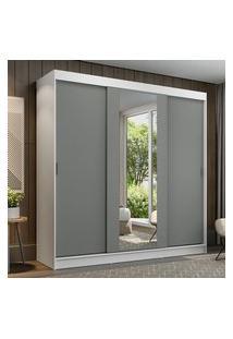 Guarda-Roupa Casal Madesa Reno 3 Portas De Correr Com Espelho Branco/Cinza Cinza