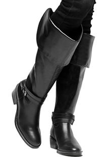 Bota Couro Over The Knee Shoestock Fivelas Feminina - Feminino-Preto