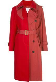 Sacai Trench Coat Bicolor - Vermelho
