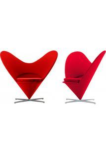 Poltrona Heart Couro Vermelho C