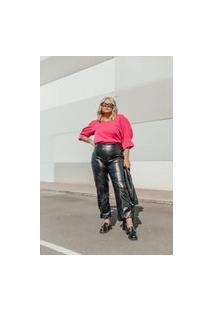 Calça Reta Almaria Plus Size Lady More Croco Preto