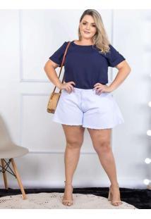Shorts Godê Almaria Plus Size Shyros Jeans Branco