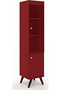 Cristaleira 1 Porta De Bater 1 Porta De Vídro E 3 Prateleiras Vermelho - Movelbento