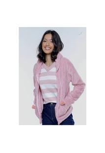 Jaqueta De Pelinhos Rosa Clara Sob Com Bolso Canguru E Capuz