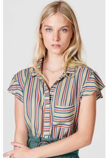 Camisa Feminina Listrada Com Bolso Frontal