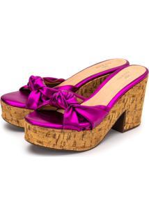 Sandália Salto Alto Em Pink Metalizado Com Detalhes No Solado
