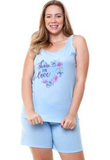 Pijama Short Doll Regata Plus Size Share Love Luna Cuore