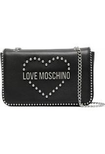 Love Moschino Bolsa Tiracolo Com Logo De Tachas - Preto