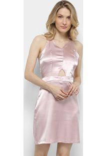 Vestido Lily Fashion Tubinho Acetinado - Feminino-Rosê