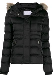 Calvin Klein Jeans Hooded Padded Jacket - Preto