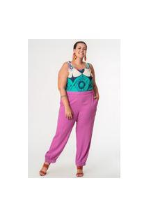 Calça Jogger Almaria Plus Size Munny Bolso Lapela Roxo