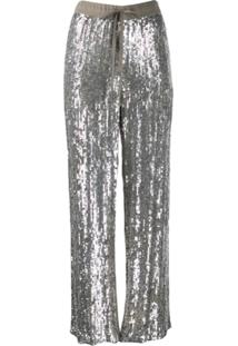 P.A.R.O.S.H. Embellished Drawstring Trousers - Prateado